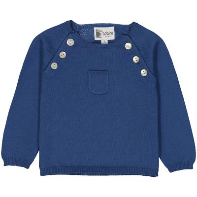 Pull bébé boutonné bleu avec poche
