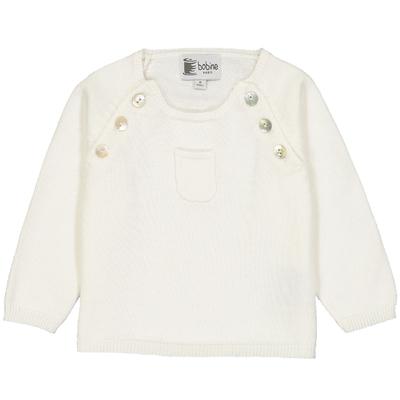Pull bébé boutonné blanc avec poche