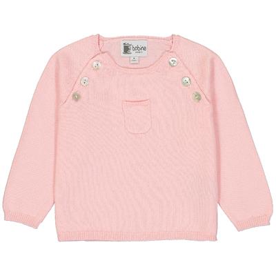 Pull bébé boutonné rose avec poche<br>Existe uniquement en 6 mois<br>