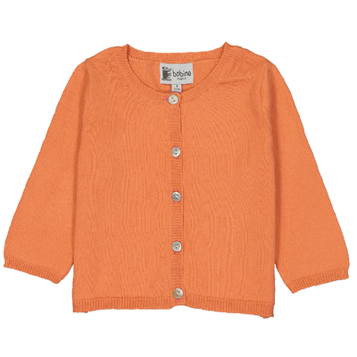 Cardigan bébé orange en coton