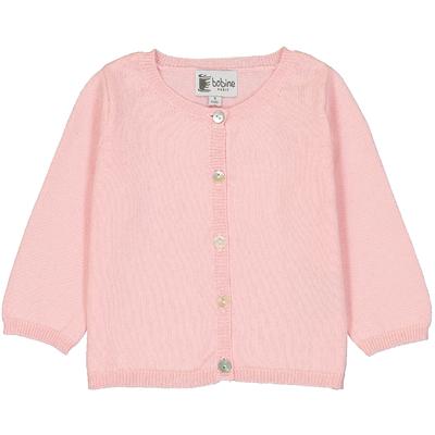 Cardigan bébé rose poudre en coton
