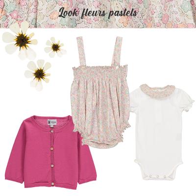 Look bébé fille fleurs pastels