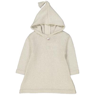Burnous zippé à capuche blanc pailleté