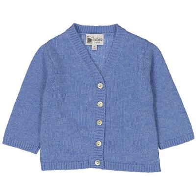 Gilet col V bébé - Bleu pastel