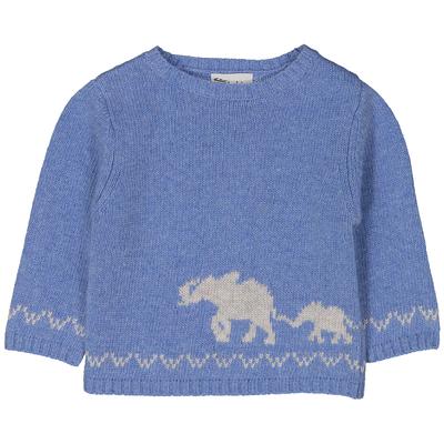 Pull bébé garçon bleu pastel intarsia éléphant