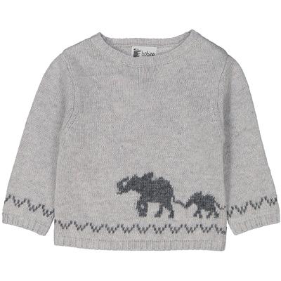 Pull bébé garçon perle moucheté intarsia éléphant