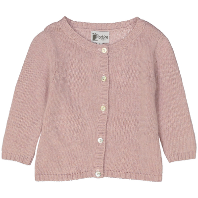 Cardigan Martine rose poudre col rond boutonné