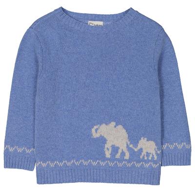 Pull garçon bleu pastel intarsia éléphant