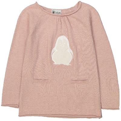 Pull fille rose poudre motif pingouin