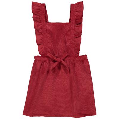 Robe salopette fille velours rouge