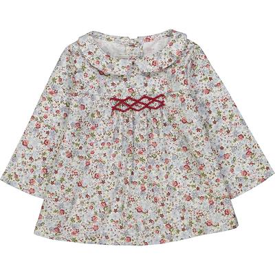 Blouse bébé Madeleine à col Claudine motif fleurs rose