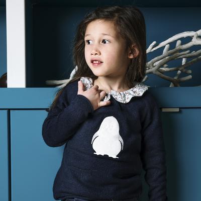 Pull fille marine pailleté motif pingouin