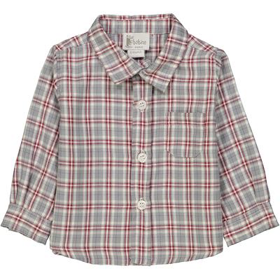 Chemise bébé à col pointu à carreaux gris et rouges