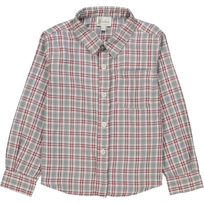 Chemise à col pointu à carreaux gris et rouges