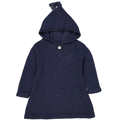 Burnous zippé à capuche bleu denim