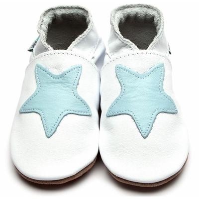 Chaussons enfant en cuir blanc avec étoile bleu ciel
