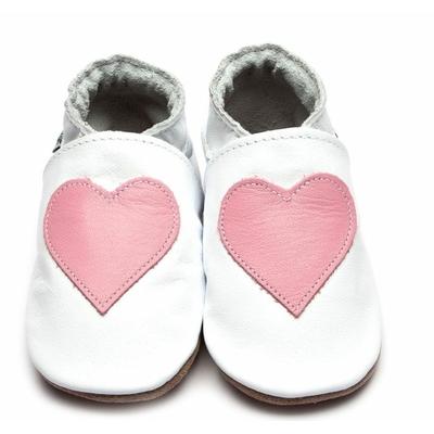 Chaussons enfant en cuir blanc avec cœur rose