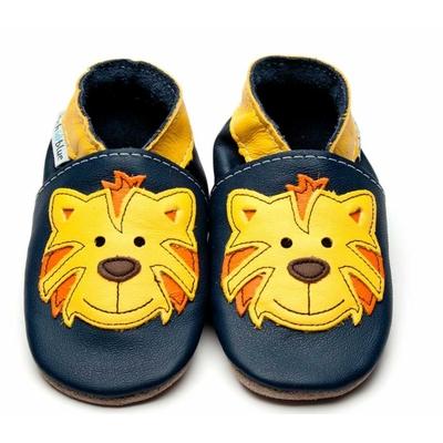 Chaussons enfant en cuir marine avec tigre jaune