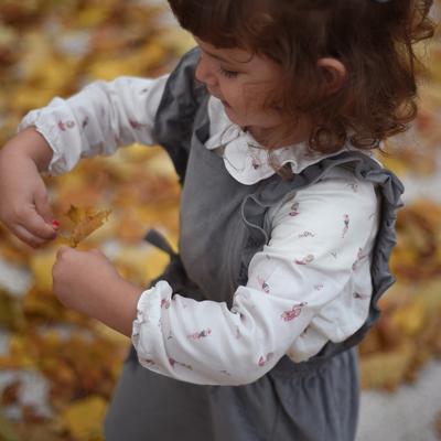 Robe salopette fille velours gris ardoise