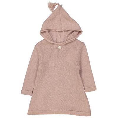 Burnous zippé à capuche rose poudre