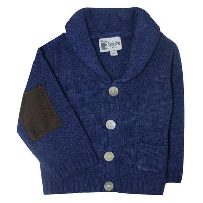 Gilet bébé bleu nuit avec col châle  <br> Disponible uniquement en 3 mois