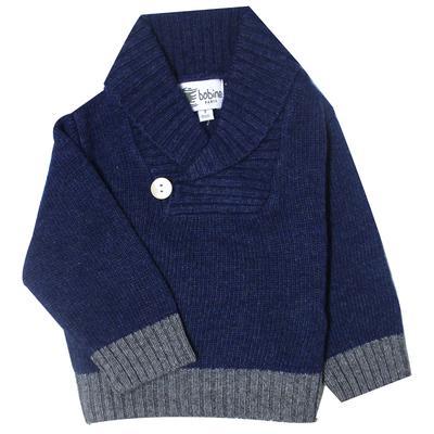 Pull bébé bleu marine avec col châle <br> Disponible uniquement en 3 mois