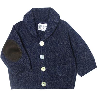 Gilet bébé mouliné bleu marine avec col châle  <br> Disponible uniquement en 3 mois