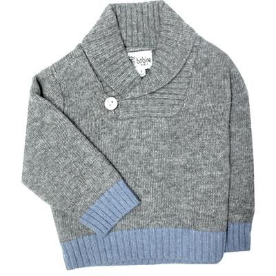 Pull bébé gris avec col châle <br> Disponible uniquement en 6 mois