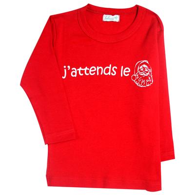 """T-shirt bébé rouge à manches longues """"J'attends le Père Noël"""""""