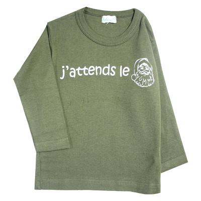 """T-shirt bébé vert kaki à manches longues """"J'attends le Père Noël"""""""