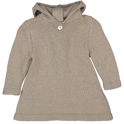 Burnous zippé à capuche taupe clair