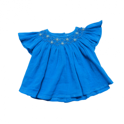 Blouse Manon bébé<br>Crêpe Turquoise