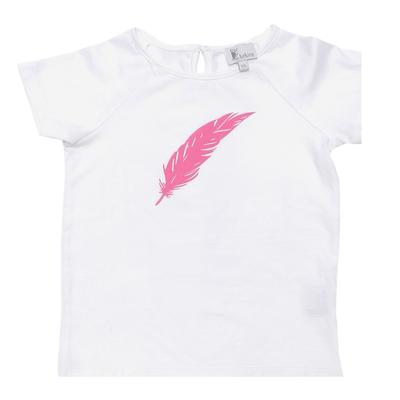 T-shirt blanc - Plume Rose