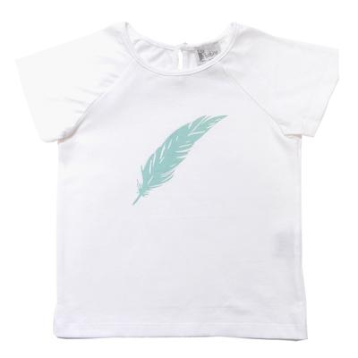 T-shirt Blanc - Plume Turquoise