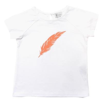 T-shirt blanc - Plume Orange