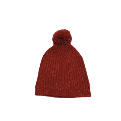 Bonnet en laine rouge à paillettes