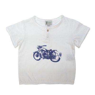 T-Shirt Blanc Moto<br>Existe uniquement en 2 ans<br>