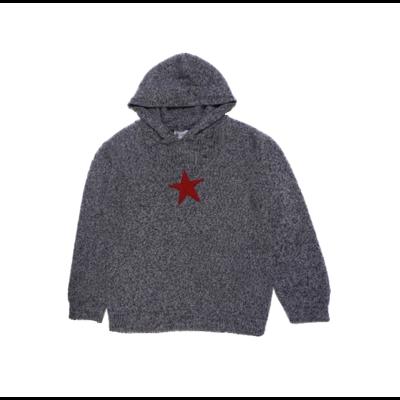 Pull capuche Mouliné Gris étoile Rouge<br>Disponible uniquement en 10 ans<br>