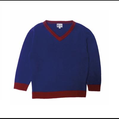 Pull Col V Bicolore Bleu Contrasté Grenat<br>Disponible uniquement en 10 et 12 ans<br>