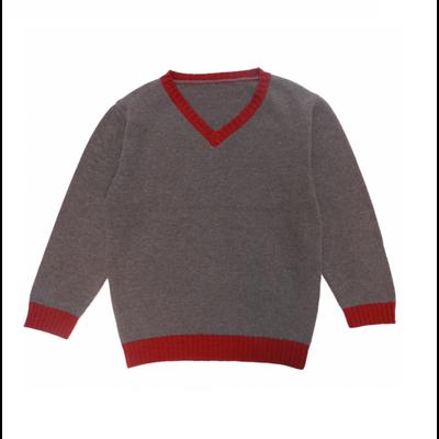Pull Col V Bicolore - Taupe contrasté rouge<br>Disponible en 10 et 12 ans<br>