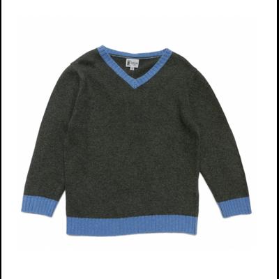 Pull Col V Bicolore <br>Kaki<br>Contrasté Bleu Jeans<br>Disponible uniquement en 10 ans