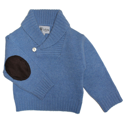 Pull bébé bleu jean avec col châle  <br> Disponible uniquement en 3 mois
