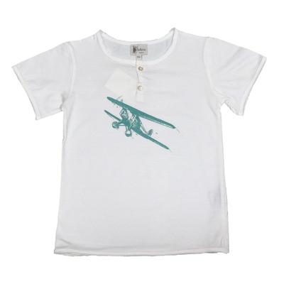 T-shirt manches courtes Blanc Avion Lagon<br>Existe uniquement en 12 ans<br>