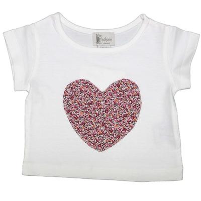 T-shirt manches courtes <br>Coeur Rose Aubépine