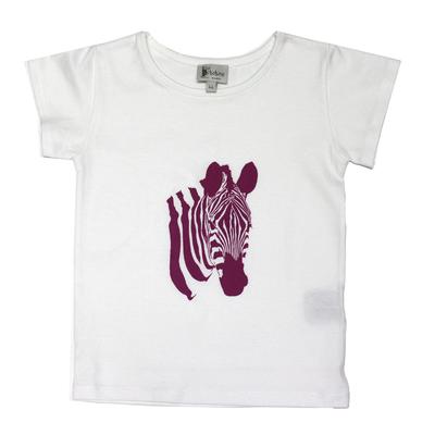 T-shirt Pia manches courtes Blanc <br>Zèbre Fushia