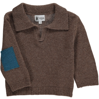 Pull col polo - Taupe foncé & canard