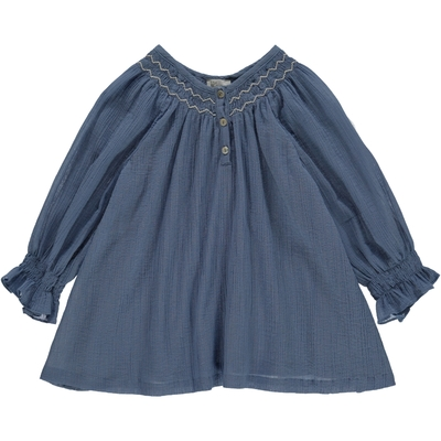 Blouse Anna - Country blue<br>Existe uniquement en 10 ans<br>