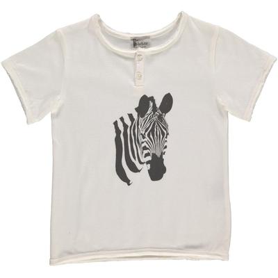 T-shirt Blanc - Zèbre Gris