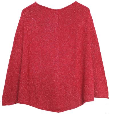 Poncho Femme - Rouge à paillettes