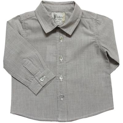 Chemise bébé garçon rayée gris marron